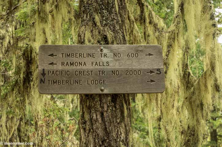 Sign for Ramona Falls trail