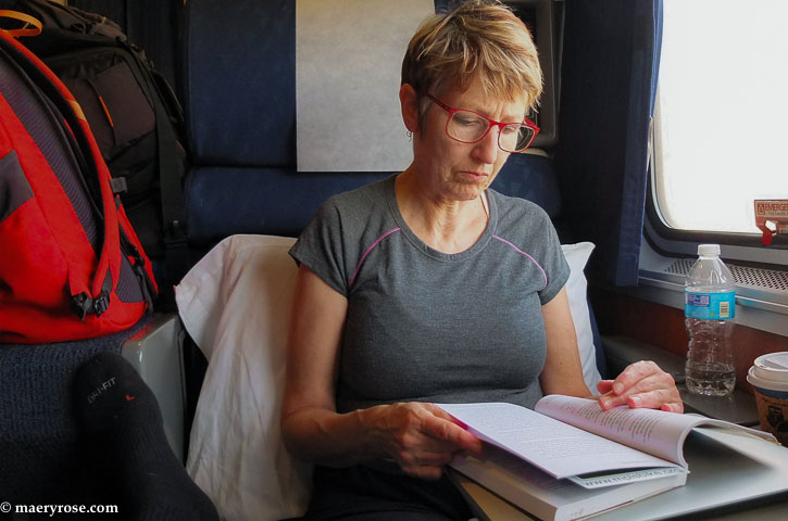 reading on the Amtrak