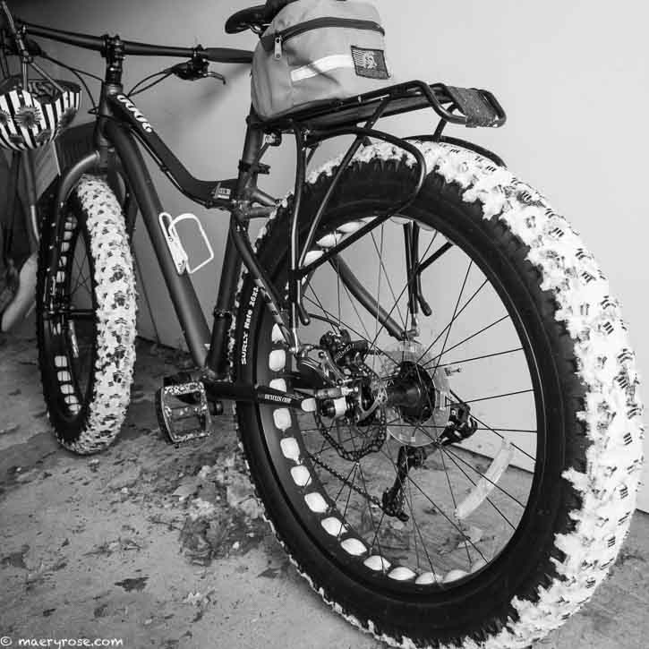fat bike parked in garage